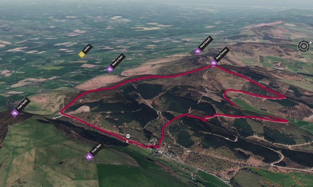 Moel Famau via Clwyd Forest 3D Map | thefrozendivide