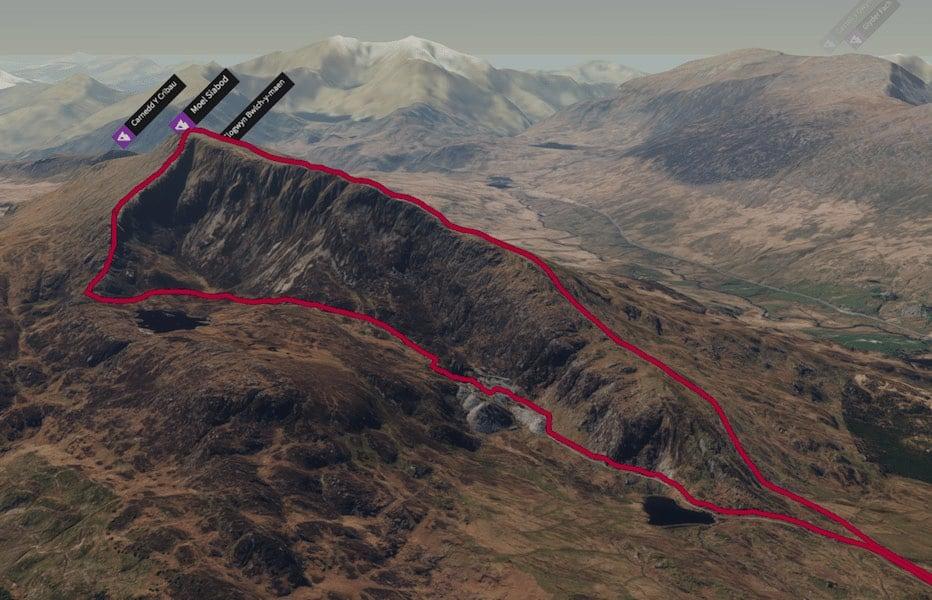 Moel Siabod Ridge Loop | 3D Map | thefrozendivide