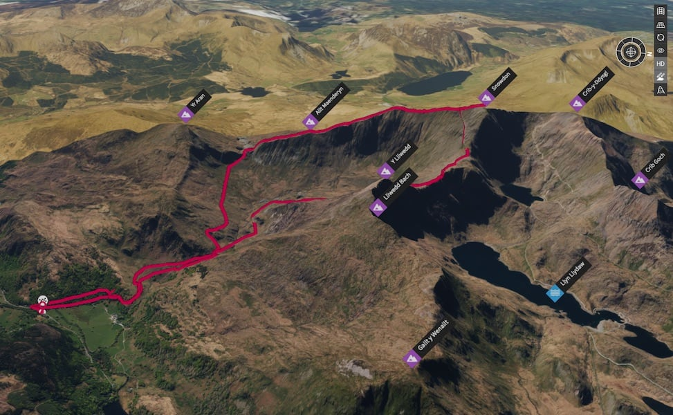 Watkin Path & Rhyd Ddu Snowdon Loop 3D Map | thefrozendivide