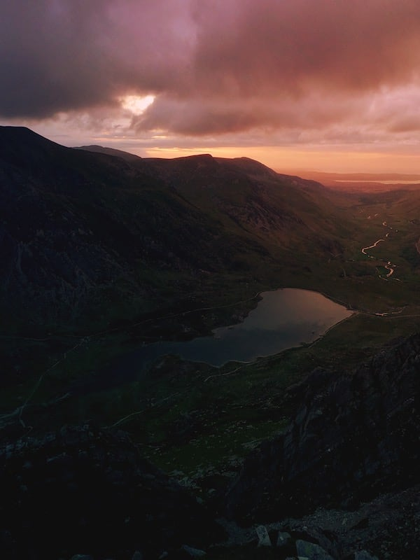 Llyn Idwal from Y Gribin ridge at sunset   The Frozen Divide