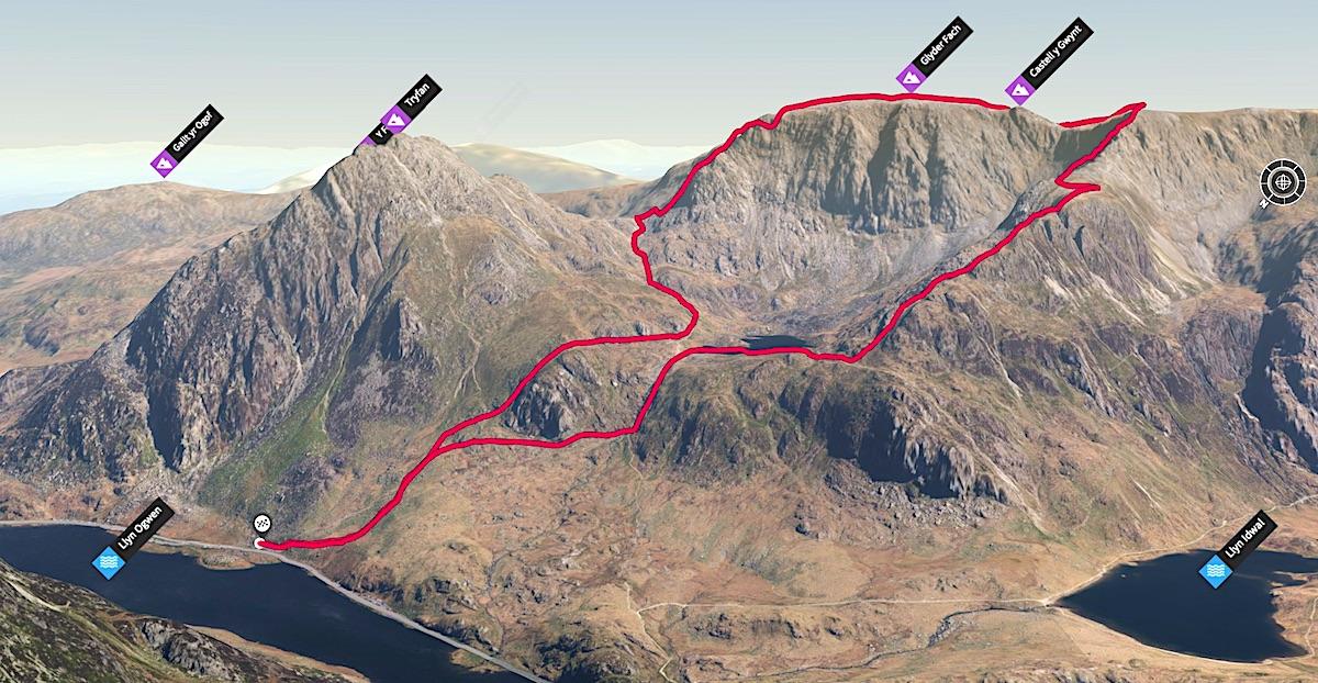 Bristly Ridge & Y Gribin Route | 3D Map
