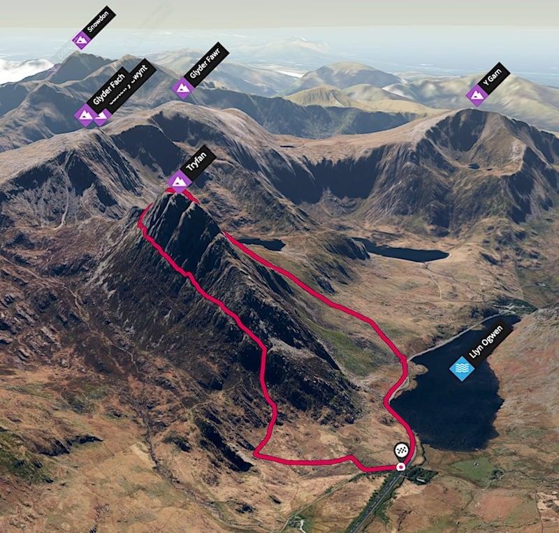Tryfan Heather Terrace Loop 3D Map