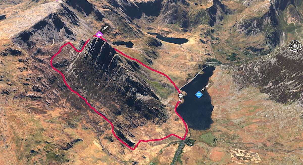 Tryfan South Face Trail Route 3D Map