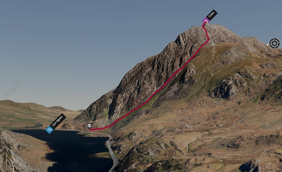 Tryfan West Face Descent 3D Map