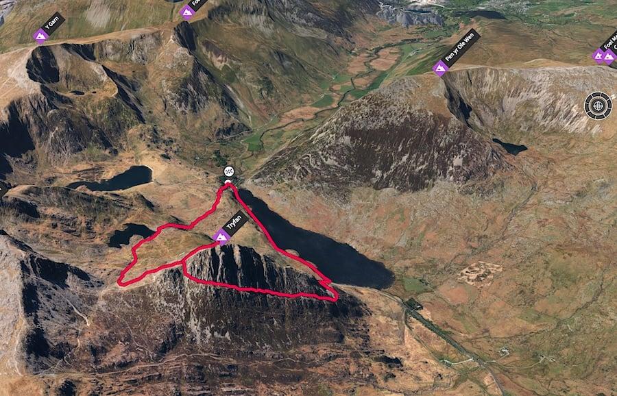 Tryfan via Llyn Bochlwyd Trail Route 3D Map