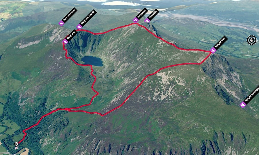 Cadair Idris Loop | Hiking & Running Trail Routes for Snowdonia 3D Map