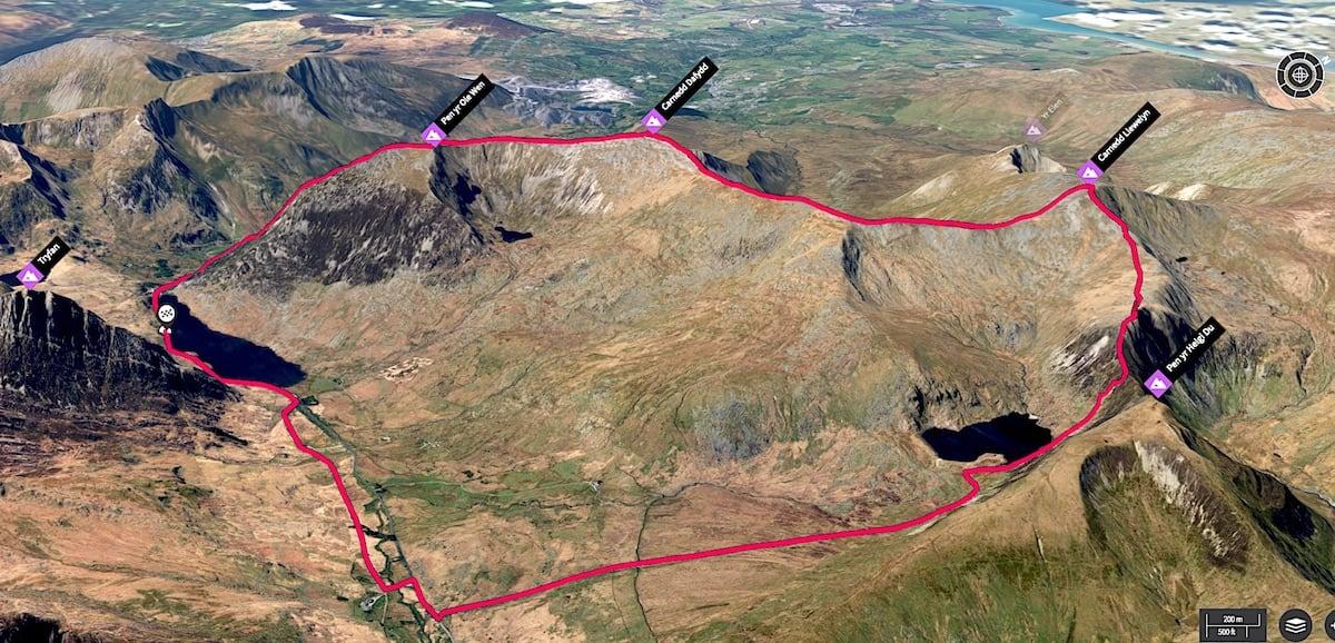 Carneddau Walk from Llyn Ogwen 3D Map
