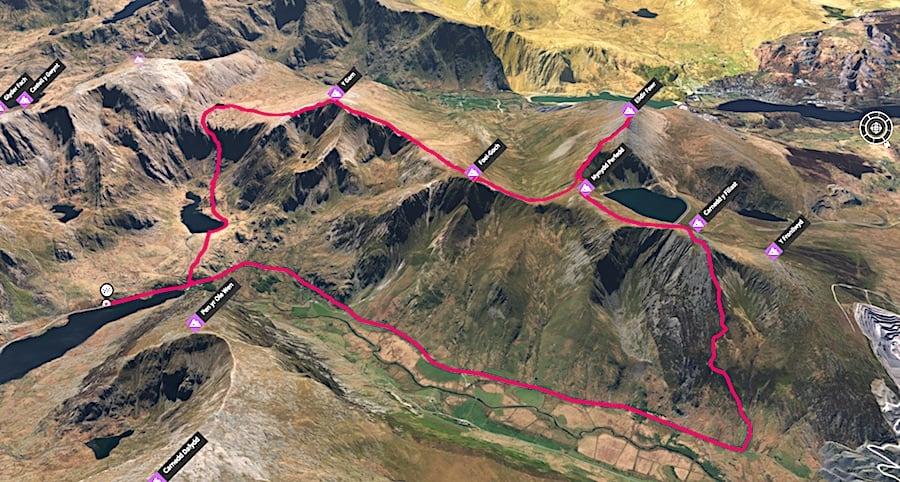 Ogwen West Side Summits 3D Map