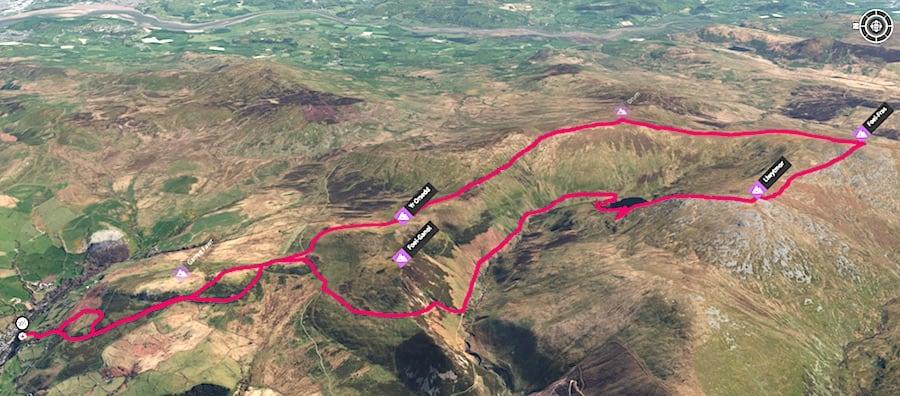 Drum, Foel Fras & Llwytmor | Carneddau Circular Trail Route